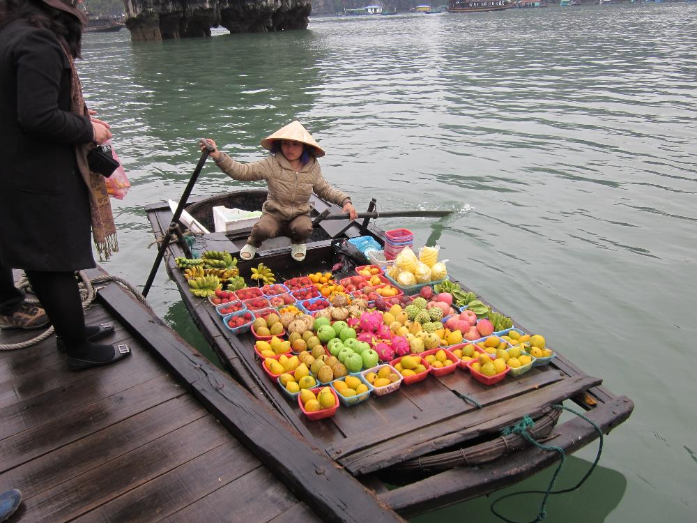 Halong Bay Boat with Fruit